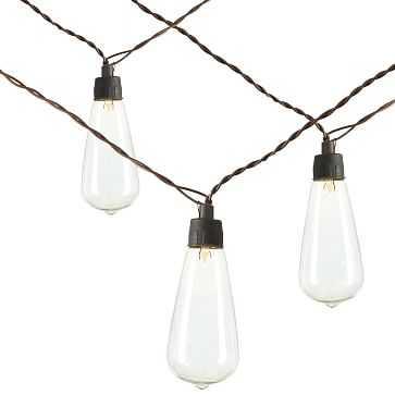 Solar LED String Lights, Brown, Set of 2, Teardrop - West Elm