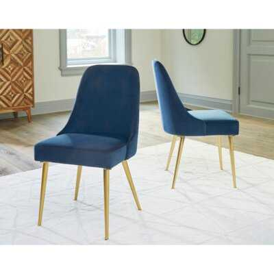 Upholstered Dining Chair in Blue (Set of 2) - Wayfair