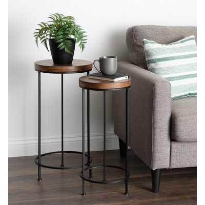 Scheidt Metal and Wood 2 Piece Nesting Tables Set - Wayfair