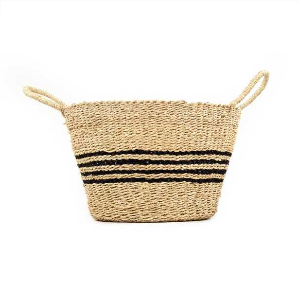 Zentique Hand Woven Seagrass and Palm Leaf Large Basket with Dark Stripes and Handles, Beige and Black Striped - Home Depot