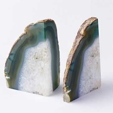 Agate Bookends, Set of 2, Green - West Elm