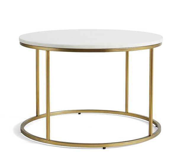 """Delaney Marble Round Coffee Table, White Marble, 25""""L - Pottery Barn"""
