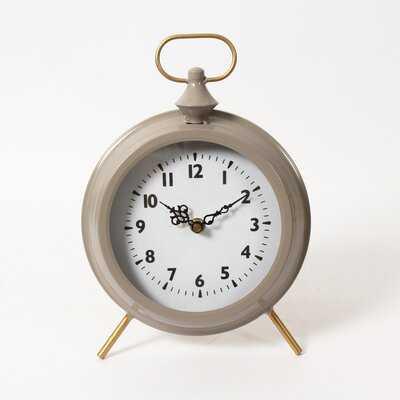 Analog Quartz Tabletop Clock in Gray - Wayfair