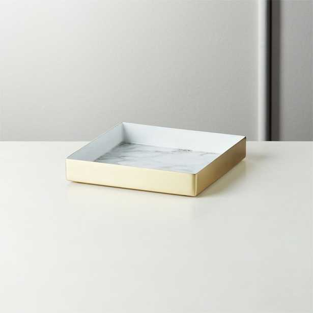 Active Small White Marble Tray - CB2