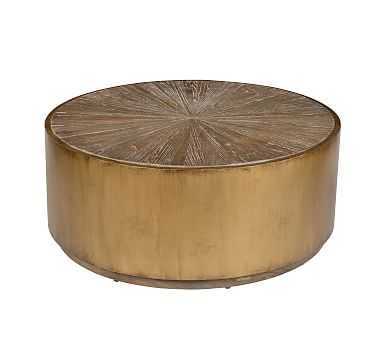 Brockton Metal Wrapped Coffee Table, Antique Gold - Pottery Barn