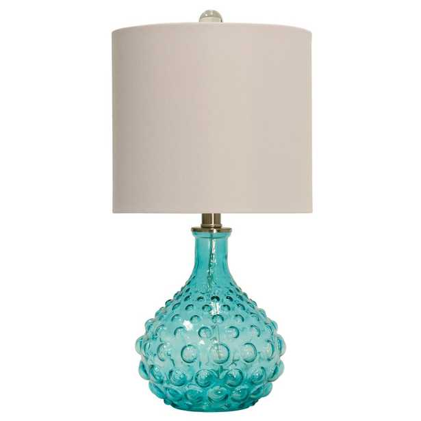 StyleCraft 20 in. Blue Table Lamp with Off-White Hardback Fabric Shade - Home Depot