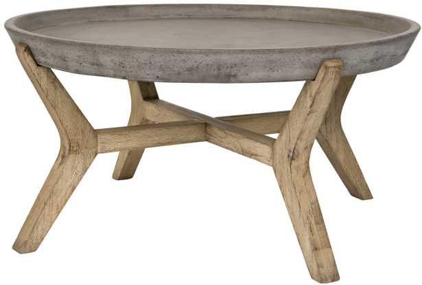 Wynn Indoor/Outdoor Modern Concrete Round 18.1-Inch H Coffee Table - Dark Grey - Arlo Home - Arlo Home