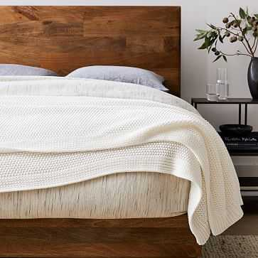Cotton Knit Bed Blanket, King/Cal. King, White - West Elm