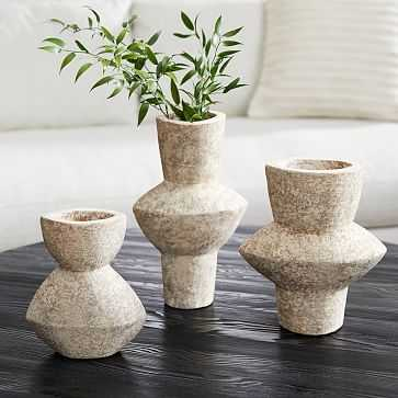 Totem Ceramic Vases, Grey, Small Medium Large, Set of 3 - West Elm