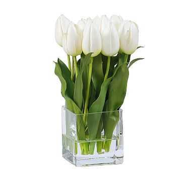 "Faux White Tulip Composed Arrangement, Square Glass Vase - 13"" - Pottery Barn"