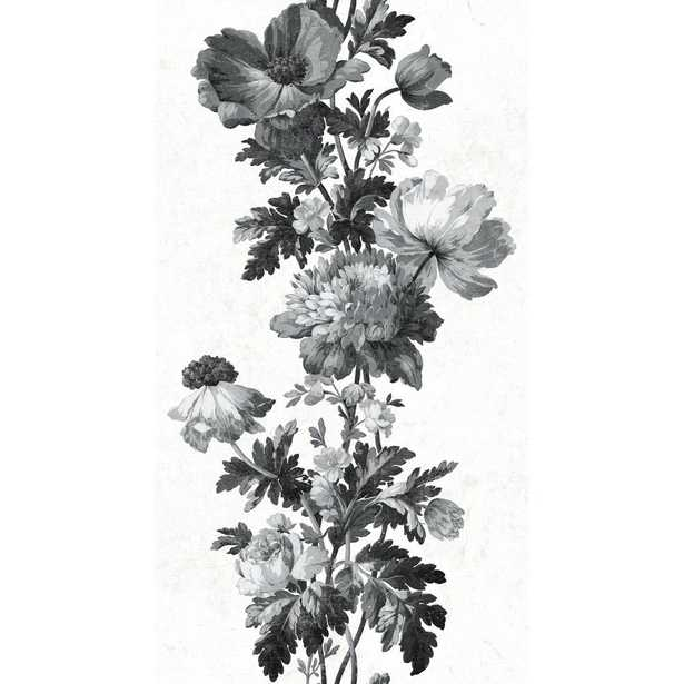 RoomMates 28.29 sq. ft. Watercolor Floral Stripe Peel and Stick Wallpaper, black/ white - Home Depot