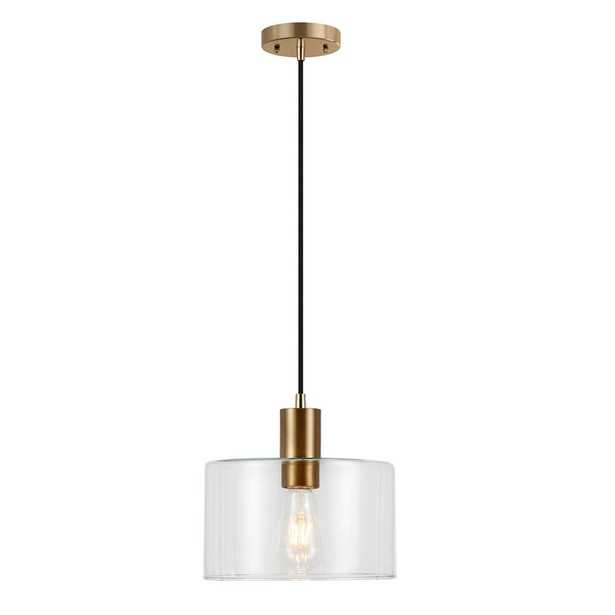 Hudson&Canal Henri One-Light Hand-Blown Glass Pendant with Brass Accents - Home Depot