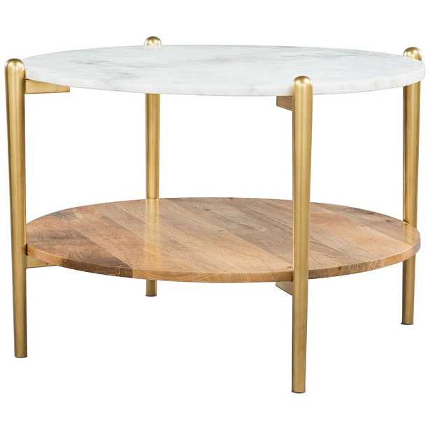 """Zuo Mina 30"""" Wide White Marble and Gold Coffee Table - Style # 83J35 - Lamps Plus"""
