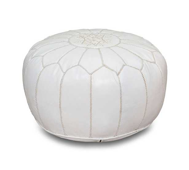 Nadia Moroccan Leather Pouf, White - Pottery Barn