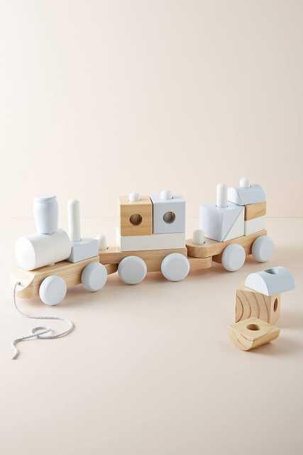 Wooden Block Train Toy - Anthropologie