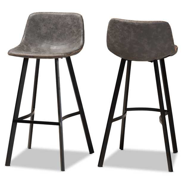 Baxton Studio Tani Rustic Industrial Grey and Brown Faux Leather Upholstered Black Finished 2-Piece Metal Bar Stool Set - Lark Interiors