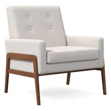 Henley Chair, Poly, Performance Coastal Linen, White, Walnut - West Elm