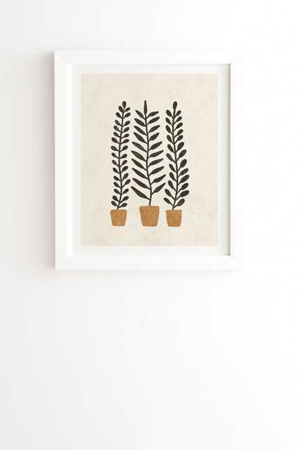 "Potted Ferns Black Terracotta by Pauline Stanley - Framed Wall Art Basic White 11"" x 13"" - Wander Print Co."