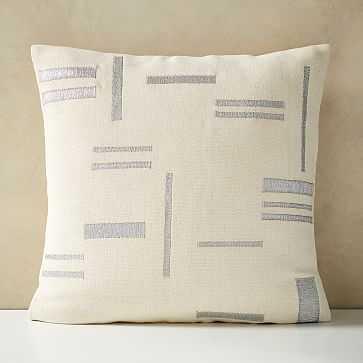 "Embroidered Metallic Blocks Pillow Cover, 24""x24"", Stone White - West Elm"