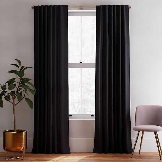 "Solid European Flax Linen Curtain, Black, 48""x96"" - West Elm"