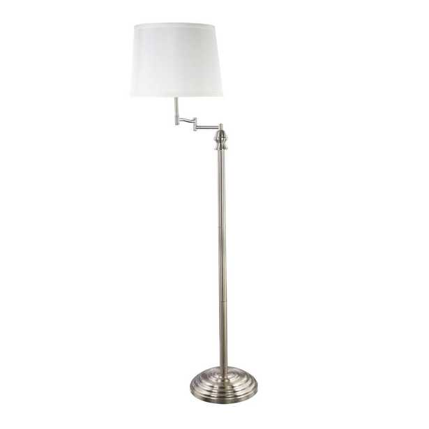Maypex 58 in. Silver Shelf Floor Lamp with White Fabric Lamp Shade - Home Depot