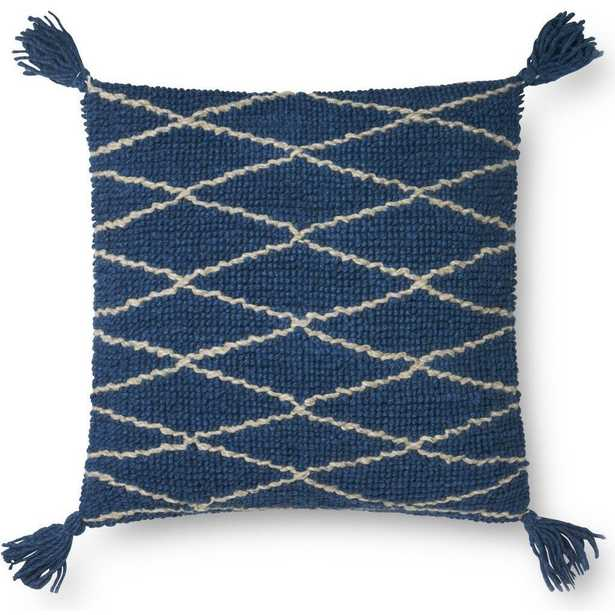 """Cris-Cros Throw Pillow Cover with Tassels, 22"""" x 22"""", Blue - Loma Threads"""