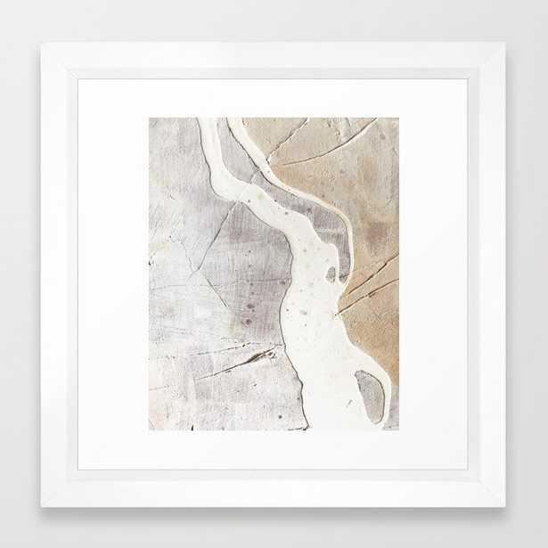 Feels: A Neutral, Textured, Abstract Piece In Whites By Alyssa Hamilton Art Framed Art Print by Alyssa Hamilton Art - Vector White - Society6