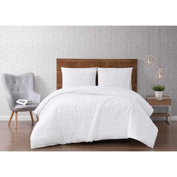 Carlisle Stripe 3-Piece White Full/Queen Duvet Cover Set - Home Depot