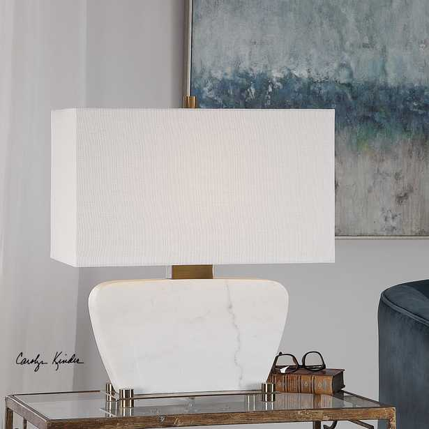 Genessy White Marble Table Lamp - Hudsonhill Foundry