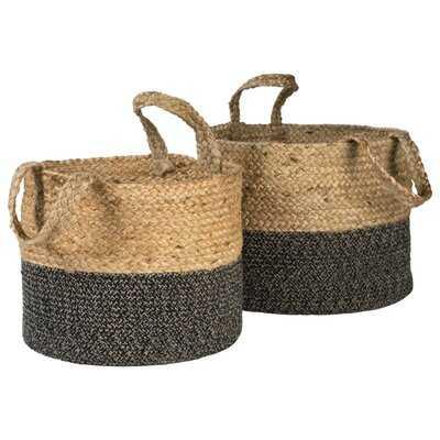Natural/Black Basket Set Of 2 - Wayfair
