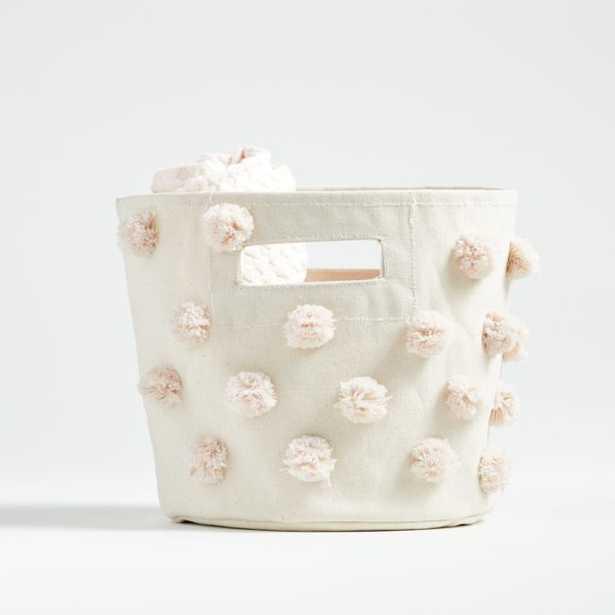 Pehr Blush Pom Pom Pint Bin - Crate and Barrel