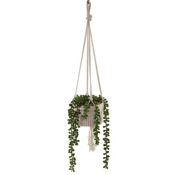 Flora Bunda 20 in. Artificial String of Pearls in Macrame Hanging Ceramic Planter - Home Depot