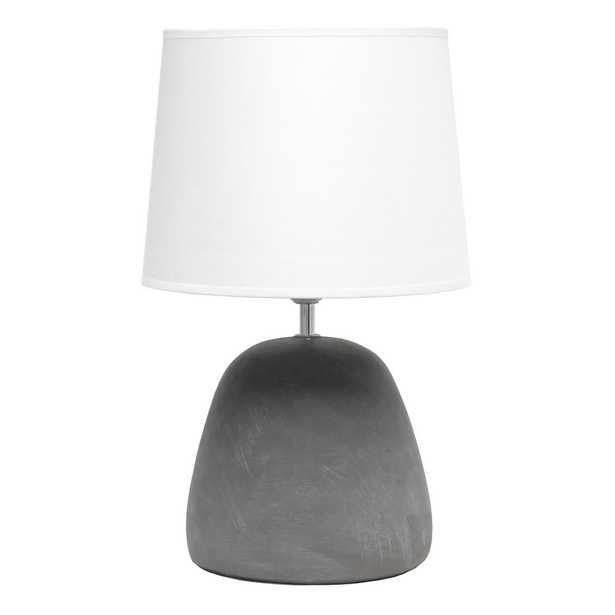 Simple Designs 16.5 in. Round Concrete Table Lamp with White Shade - Home Depot
