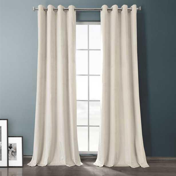 Exclusive Fabrics & Furnishings Sandalwood Beige Plush Velvet Hotel Blackout Grommet Curtain - 50 in. W x 108 in. L (1 Panel) - Home Depot