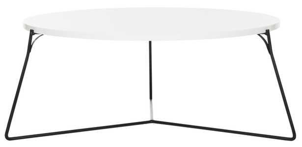 Mae Retro Mid Century Lacquer Coffee Table - White/Black - Arlo Home - Arlo Home