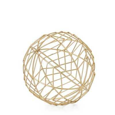 Tabletop Wire Frame Chevron Pattern Decorative Ball, Medium, Gold - Wayfair