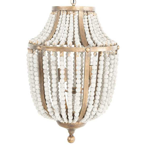 Metal Chandelier with Wood Beads - Nomad Home