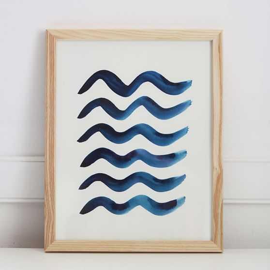 Pauline Stanley Studio Wall Art, Blue Waves, Wood Frame, Blue & White - West Elm