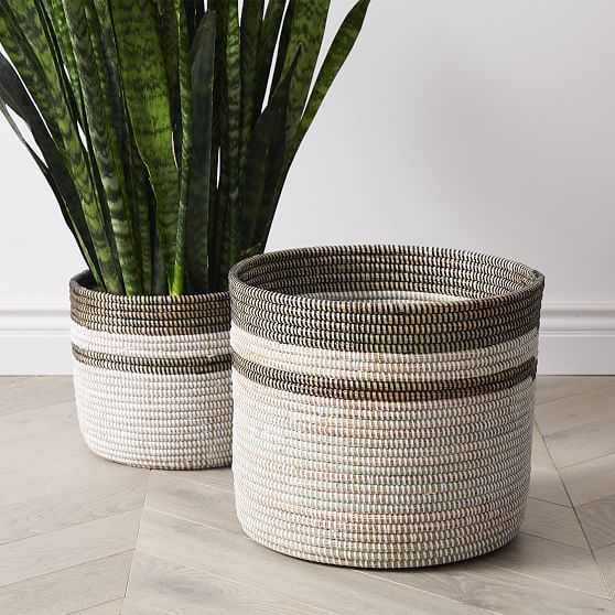 Colorblock Basket Planters, Floor, White & Black, Wove, Set of 2, Small & Large - West Elm