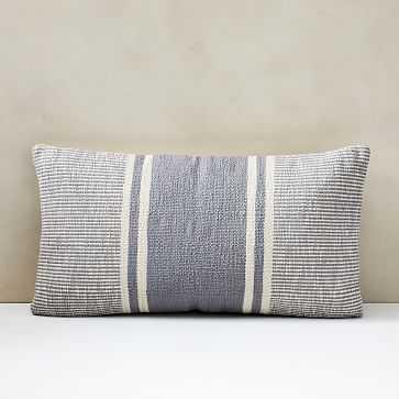 "Woven Stripe Horizons Pillow Cover, Set of 2L, 14""x26"", Light Blue - West Elm"