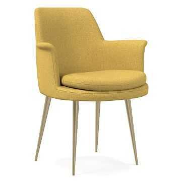 Finley Wing Dining Chair, Basket Slub, Dark Horseradish, Light Bronze - West Elm