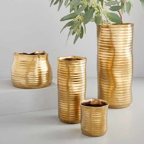 Molten Brass Vase, Small, Medium Straight & Round, Large, Set of 4 - West Elm