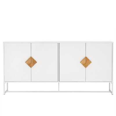 Minier Solid Wood Special Shape Square Handle Design With 4 Doors And Double Storage Sideboard - Wayfair