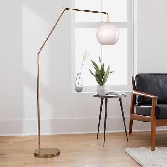 "Sculptural Overarching Floor Lamp, Globe Medium, Milk, Antique Brass 10"" shade - West Elm"