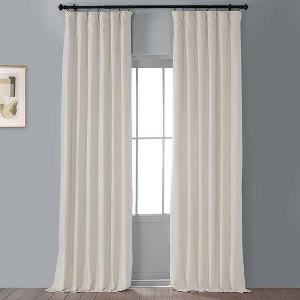 "Exclusive Fabrics & Furnishings Blackout Signature Alabaster beige Blackout Velvet Curtain, 50"" x 96"" (1 Panel) - Home Depot"