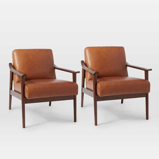 Midcentury Show Wood Leather Chair, Nut Saddle Leather/Espresso, Set of 2 - West Elm
