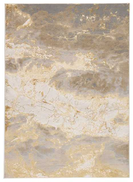 """Cisco Abstract Gray/ Gold Area Rug (6'7""""X9'6"""") - Collective Weavers"""