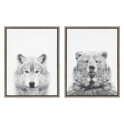 'Wolf and Bear European' by Simon Te - 2 Piece Floater Frame Photograph Print Set on Canvas - Wayfair
