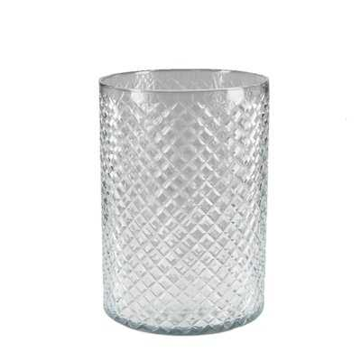 """Mercer41 Tall Diamond Cut Glass Flowers Vase, Simple Table Centerpieces For Wedding, Event, Party, Decorative Glass For Home Decor, Measures 9"""" Tall & 6.25"""" Diameter - Wayfair"""