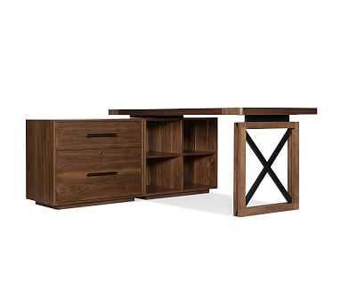 """Daniel Lateral File L-Shape Desk, 64"""" - Pottery Barn"""